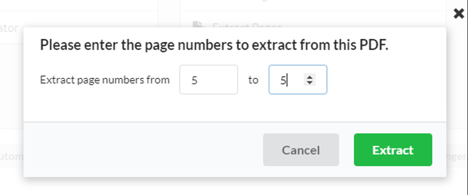 Choose page numbers to extract