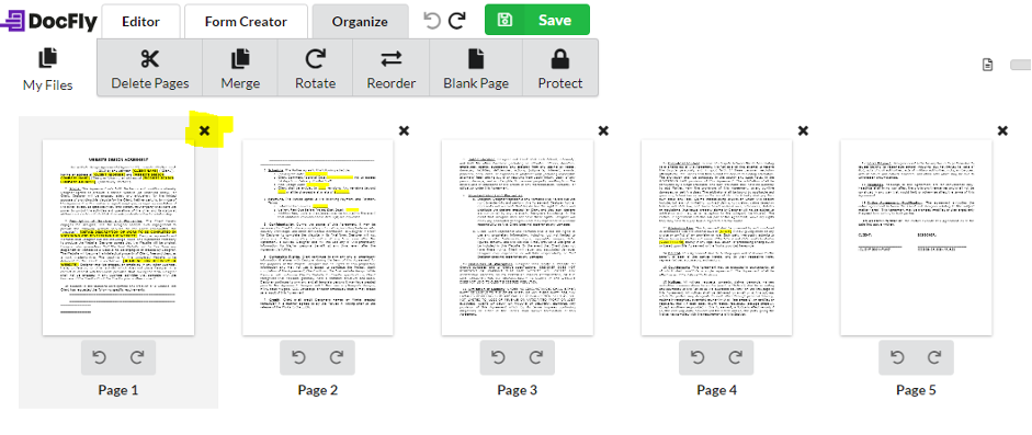 Delete pages in editor