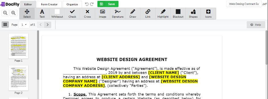 Web design contract in editor